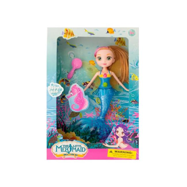 Kole Imports GH392-4 Mermaid Doll with Hairbrush - Pack of 4
