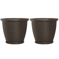 Suncast Sonora 22 Inch Resin Wicker Decorative Garden Flower Planter (2 Pack)