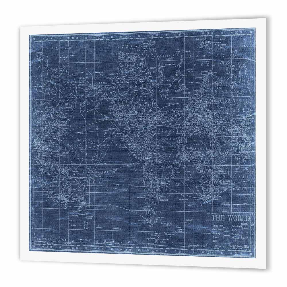 3dRose An Antique Map Of The World In Blue, Iron On Heat Transfer, 10 by 10-inch, For White Material