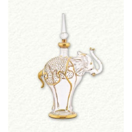 Clear and Gold Small Elephant Egyptian Blown Glass Perfume Bottle Hand Blown Glass Perfume Bottle