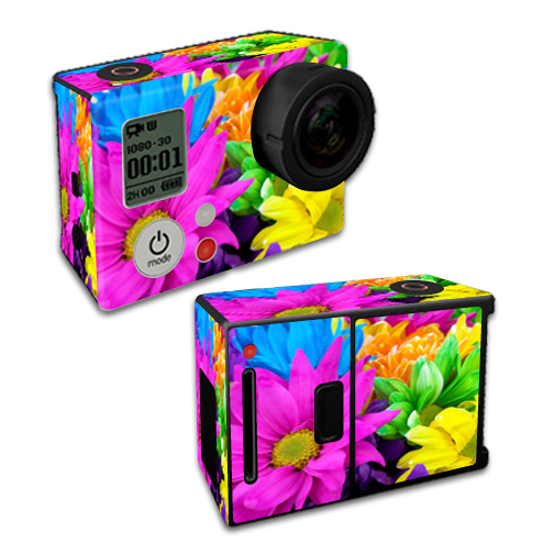 Mightyskins Protective Vinyl Skin Decal Cover for GoPro Hero3+ Plus Silver/Black Edition Camera Digital Camcorder wrap sticker skins Colorful Flowers