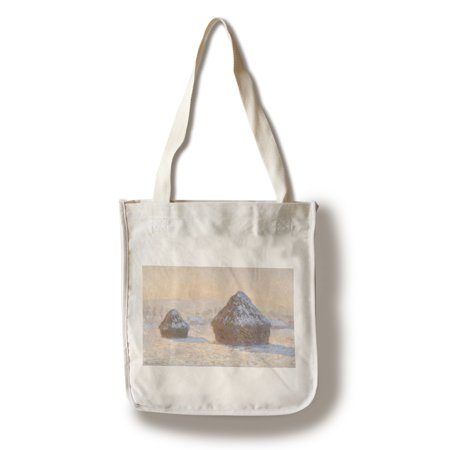 Wheatstacks, Snow Effect, Morning - Masterpiece Classic - Artist: Claude Monet c. 1891 (100% Cotton Tote Bag - Reusable)