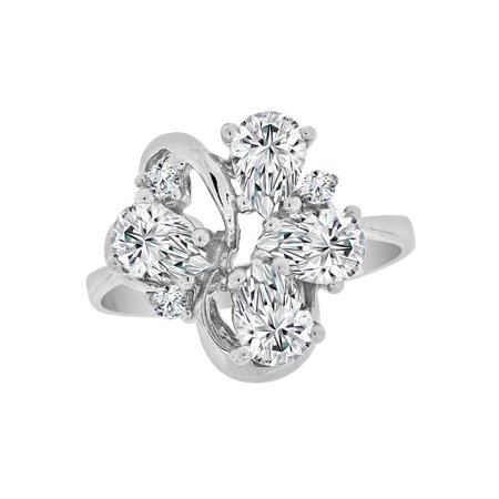 Sterling Silver White Rhodium, Classic Pear Shape Cluster Ring Created CZ