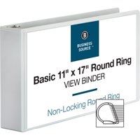 Business Source, BSN45102, Tabloid-size Round Ring Reference Binder, 1 Each, White