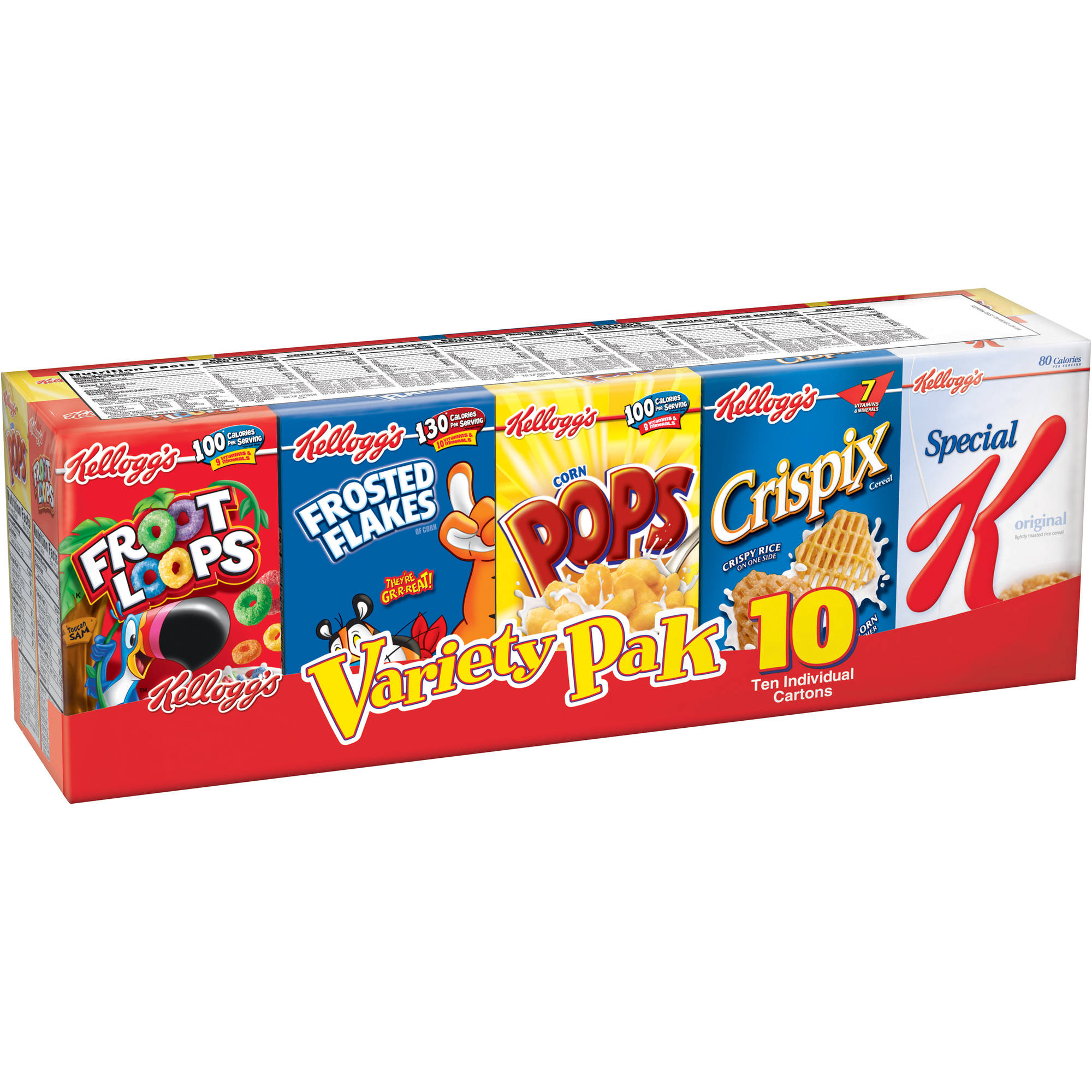 Kellogg's Assorted Cereal Variety Pack, 10 count, 9.63 oz