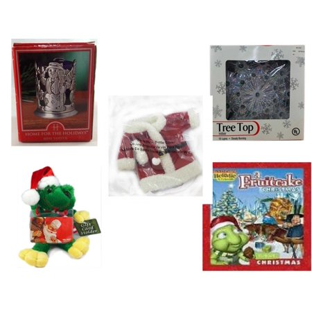 Christmas Fun Gift Bundle [5 Piece] - Home For The s Snowman Votive Holder - 19-Light Snowflake Tree Topper - 2011 Avon Santa Outfit Wine Bottle Cover  -  Santa Frog  Gift Card Holder 6
