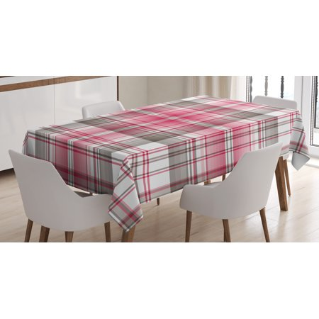 Checkered Tablecloth, Abstract Designed Celtic Repeating Motif in Vibrant Pink Modern Display, Rectangular Table Cover for Dining Room Kitchen, 60 X 90 Inches, Taupe Pink White, by Ambesonne (Pink Checkered Tablecloth)