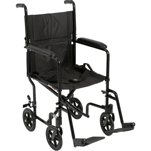 Drive Medical Lightweight Black Transport Wheelchair