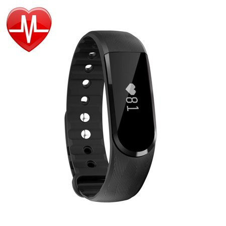 Letscom Fitness Tracker Watch  Bluetooth 4 0 Heart Rate Monitor Bracelet  Ip67 Waterproof Touch Screen Smart Bands With Activity Tracker For Iphone Android Smartphone Black