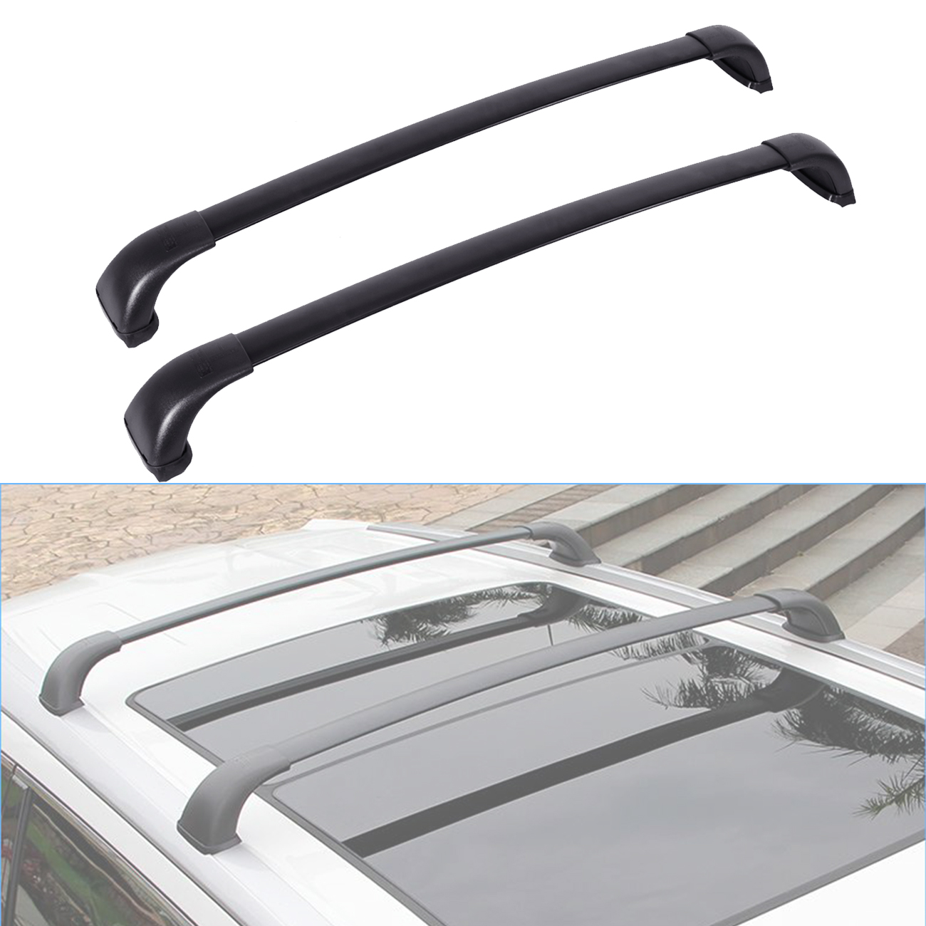 Beamnova Roof Rack Fits Toyota Highlander Le 2014 2015 2016 2017 Cross Bar Top Cargo Carrier Luggage Bike Kayak Basket Mount 1pair Black Aluminum