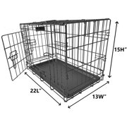 "Ultimate Folding Dog Cage Pet Crate High Intensity Heavy Duty Metal Wires Kennel, Removable Plastic Floor Tray Carry Case with Handle 22"" 24"" 30"" 36"" 42"" 48"""