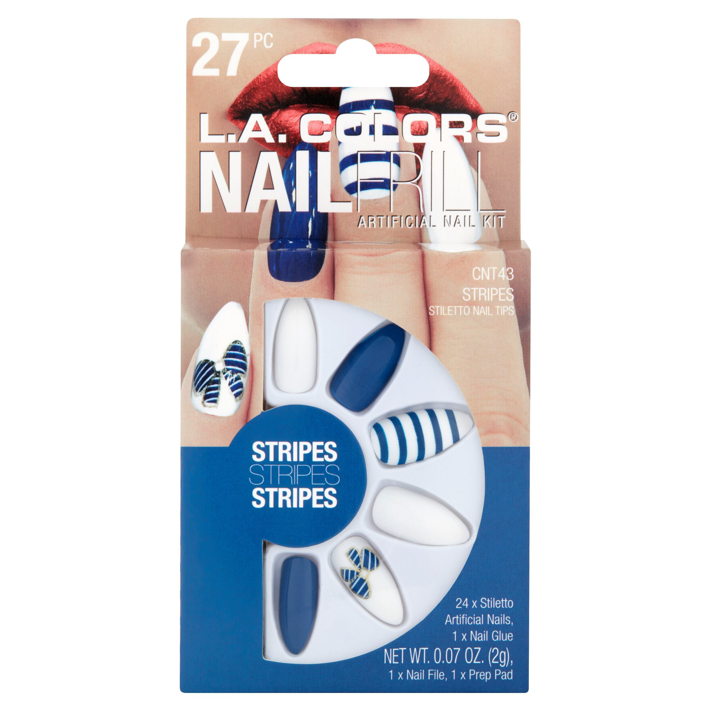 L.A. Colors Nail Frill Stripes Artificial Nail Kit, 27 pc