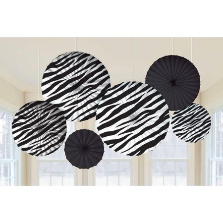 Zebra Printed Paper Fan Decorations, 6pk - Zebra Party Decorations