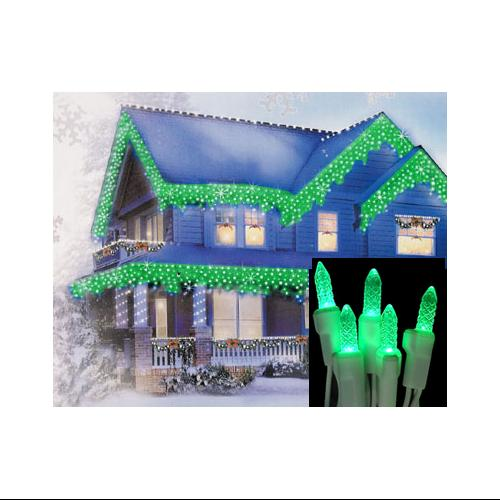Set of 70 Green LED M5 Twinkle Icicle Christmas Lights - White Wire
