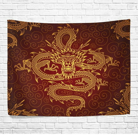 POPCreation Chinese Dragon Home Decor Collection , Oriental Style Yellow Wall Art Polyester Tapestry Wall Hanging Art 40x60 - Oriental Quilted Wall Hanging