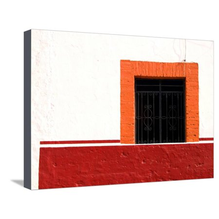 Detail of Colorful Wooden Window and Wrought Iron Bars, Cabo San Lucas, Mexico Stretched Canvas Print Wall Art By Nancy & Steve Ross