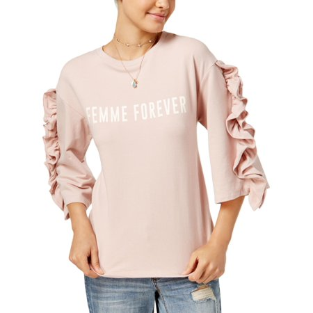 Polly & Esther Womens Femme Forever  Ruffled Sleeves Knit Sweatshirt (Femme Fatale Outfits)