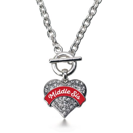 Red Middle Sis Pave Heart Toggle Necklace