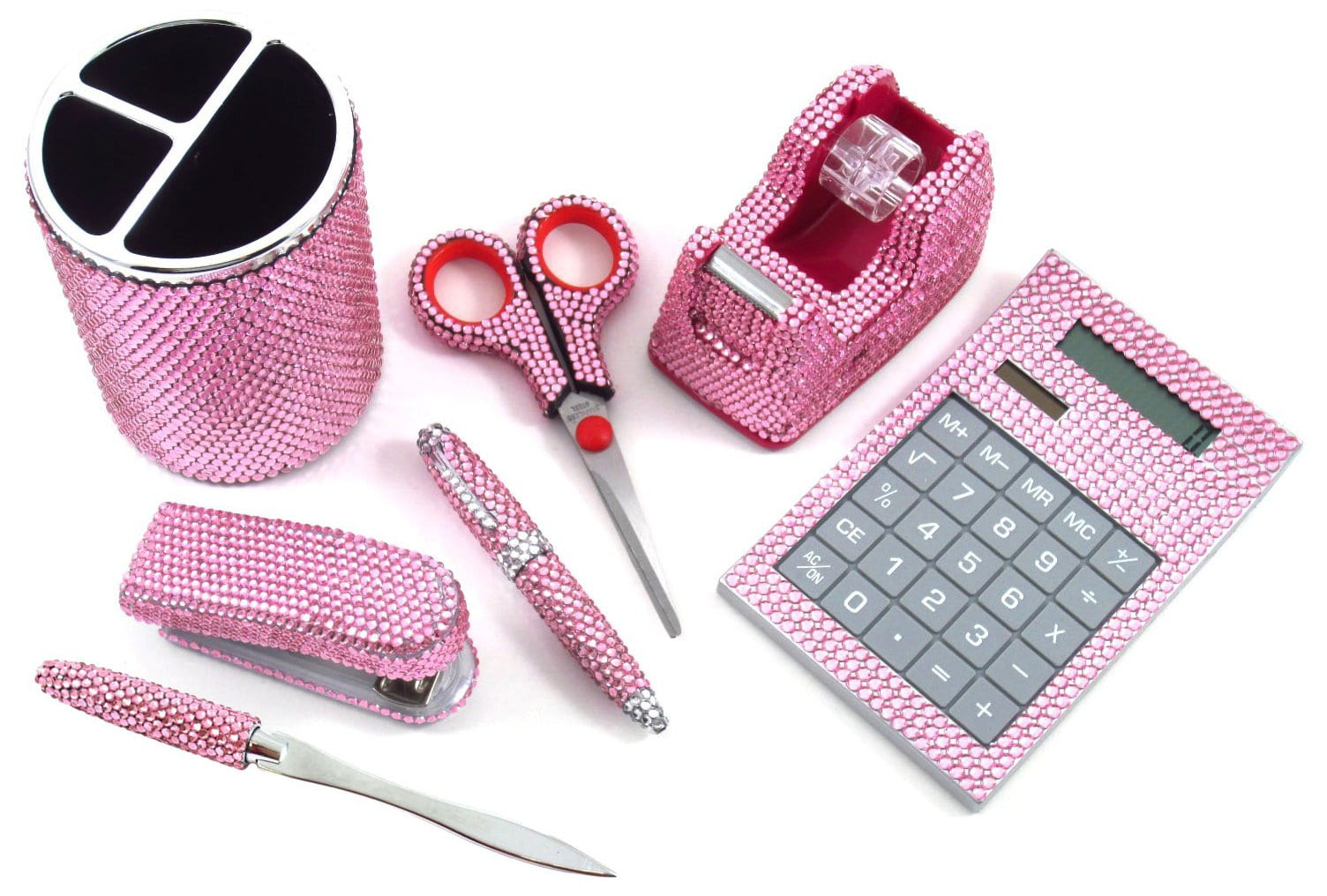 7 Piece Light Pink Crystal Office Supply Set Pen Scissors Calc Dispenser Stapler Com