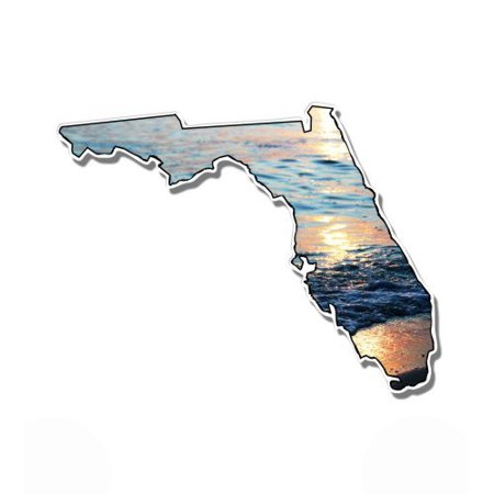 Florida Sunset on the Beach - Vinyl Sticker Waterproof Decal Sticker 5""