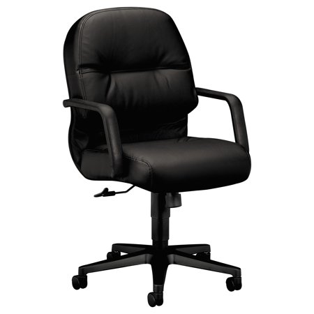 HON 2090 Pillow-Soft Series Managerial Leather Mid-Back Swivel/Tilt Chair, Black