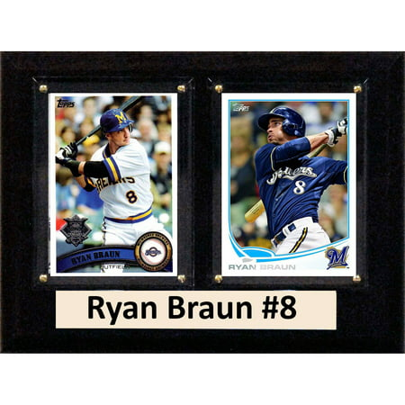 Mlb Milwaukee Brewers Sign (C&I Collectables MLB 6x8 Ryan Braun Milwaukee Brewers 2-Card Plaque)
