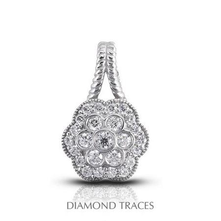 Diamond Traces 0.61 Carat Total Natural Diamonds 14K White Gold Pave & Bezel Setting Flower Shape With Rope Edging Fashion Pendant