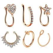 Fake Hoop Clip On Nose Ring Nose Cuff 2 Pieces Pink Rose Gold Fake Nose Ring No Piercing 22 Gauge Nose Ring