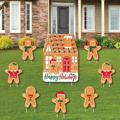 Gingerbread Christmas - Yard Sign and Outdoor Lawn Decorations - Gingerbread Man Holiday Party Yard Signs - Set of 8 Gingerbread Men Decor