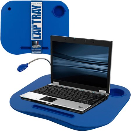 Laptop Lap Desk Portable With Foam Filled Fleece Cushion Led Desk Light Cup Holder For Homework Drawing Reading And More By Lavish Home Blue