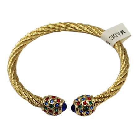 Ropelike Non-Connecting Terminals Gold Colored Bracelet With Colored Rhinestones for $<!---->