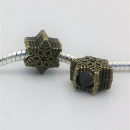 3 Beads - Snowflake Winter Bronze European Bead Charm E1496