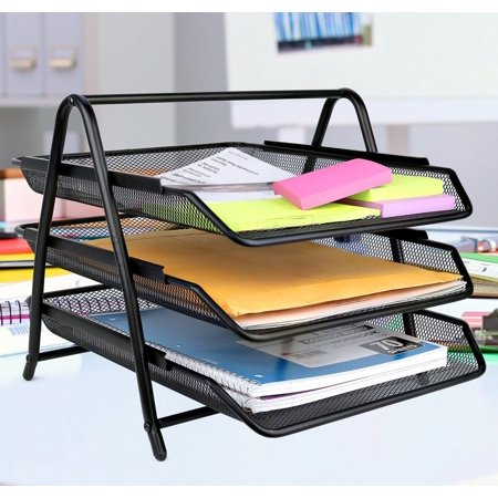 Greenco Mesh 3 Tier Document, Letter Tray, Desk Organizer, Black ()