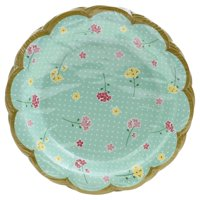 """Creative Converting Floral Tea Party Scalloped Plate 7"""" Assorted Florals, 8 ct"""