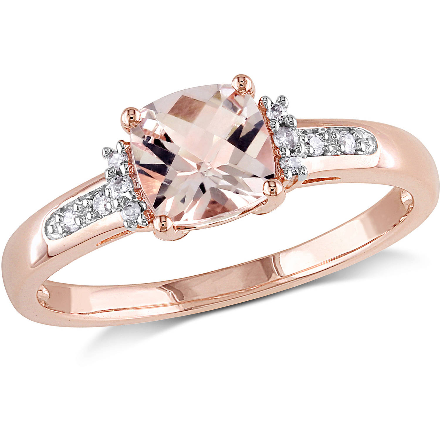 Tangelo 1 Carat TGW CushionCut Morganite and DiamondAccent 10kt