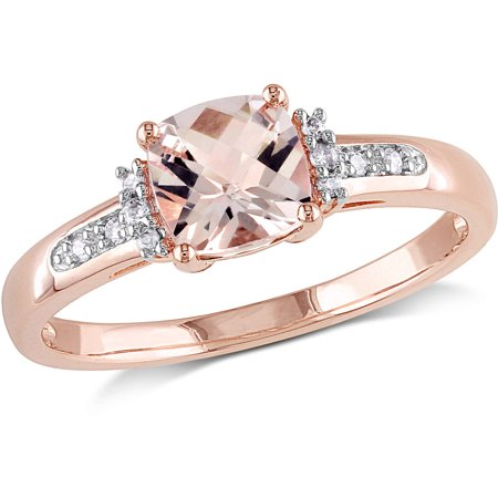 1 Carat T.G.W. Cushion-Cut Morganite and Diamond-Accent 10kt Rose Gold Cocktail (Cushion Cut Cocktail Ring)