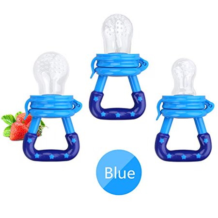 Baby Fruit Feeder Pacifier ( 3 Pack)- Rattle Fruit Feeders- Silicone Teething Toys for Infants Toddlers-Blue