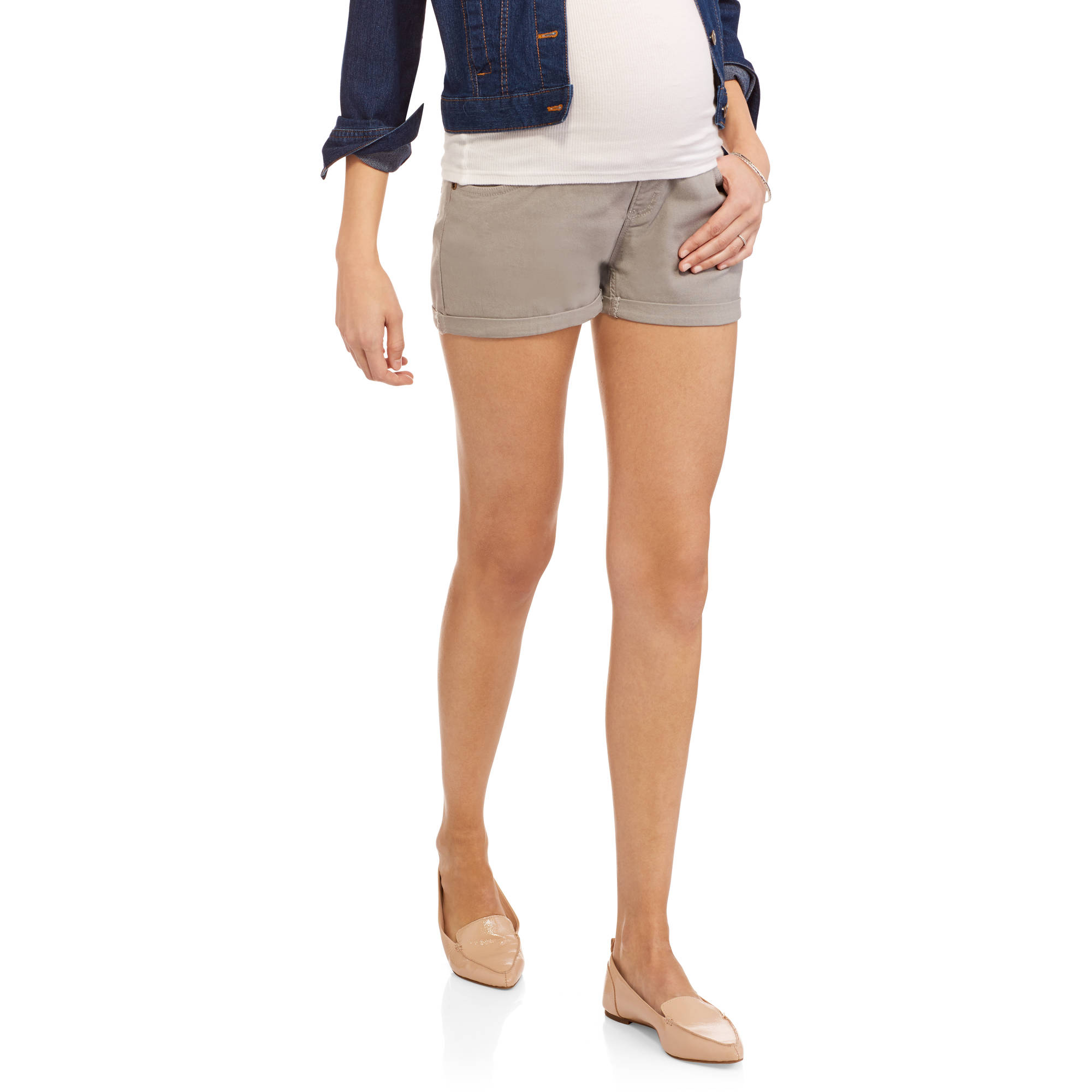 Oh! Mamma Maternity Full Coverage Stretch Twill Short with Embroidered Back Pockets
