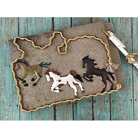 Western Theme Horses Guest Book and Pen for Birthday Wedding Sweet 16