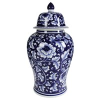 A&B Home Blue And White Porcelain Ginger Jar with Lid, 9.5 by 18-Inch
