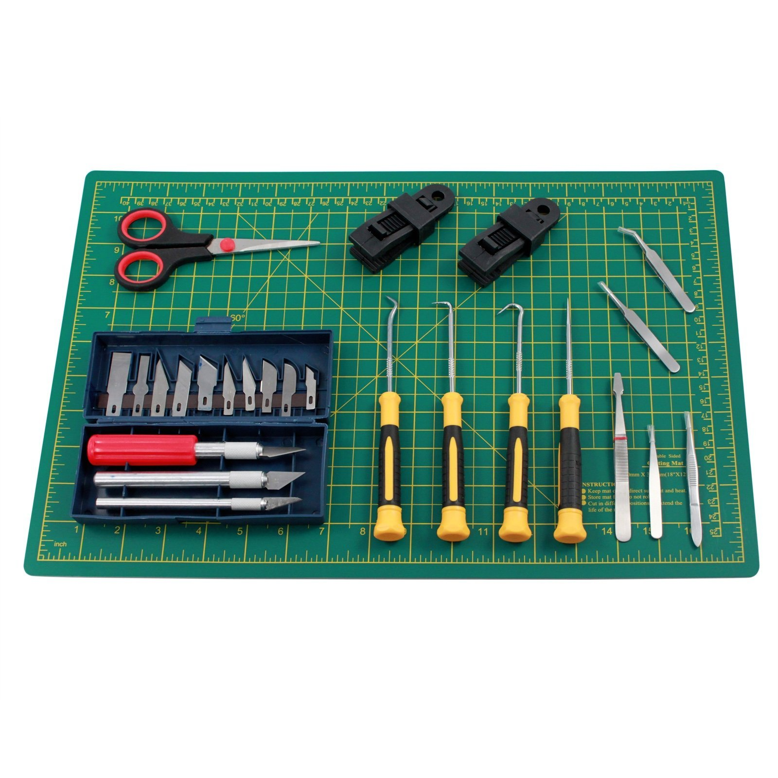 Deluxe Hobby Craft DIY Vinyl Cutting Kit with Self Healing Mat Clamps and Knives