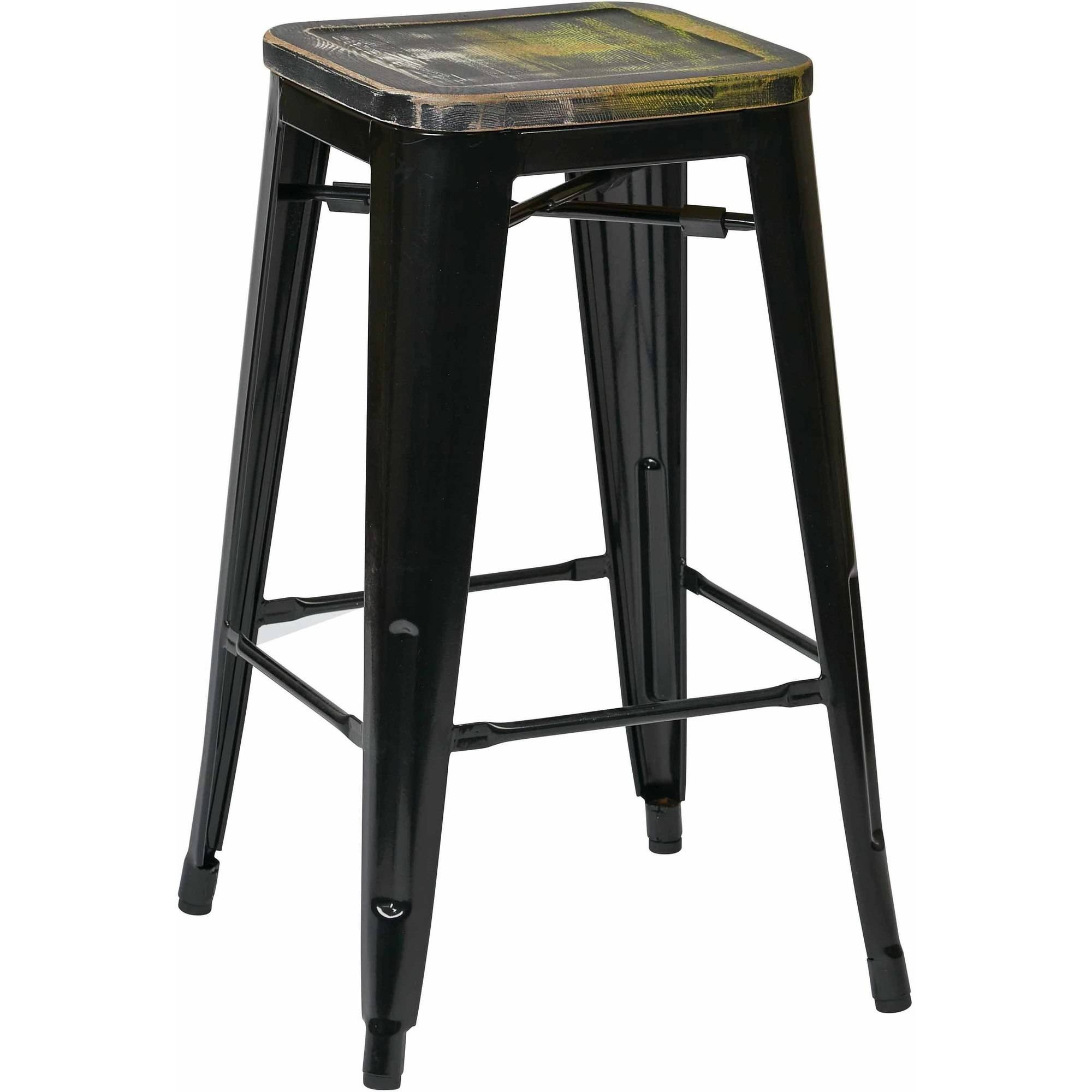 "Bristow 26"" Metal Barstool with Vintage Wood Seat, 4 Pack"