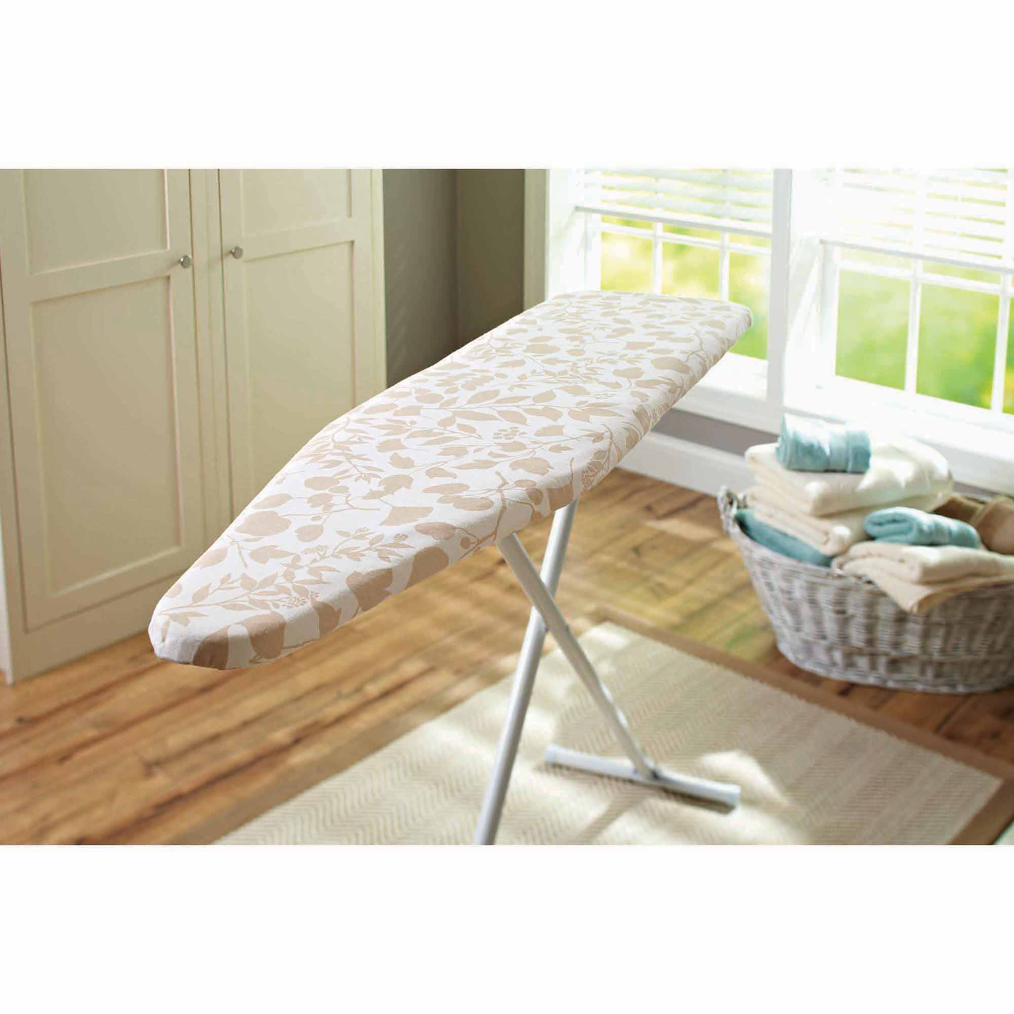 Better Homes and Gardens Ironing Board Reversible Replacement Pad and Cover, Cream Mist Floral (Print Side) and Straw (Solid Side)
