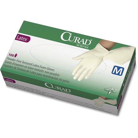 Curad, MIICUR8103, Powder Free Latex Exam Gloves, 100 / Box, White