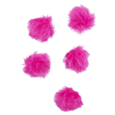 - Lux Accessories Hot Pink Faux Fur Breast Cancer Pom Pom Hair Clip Set (5PCS)