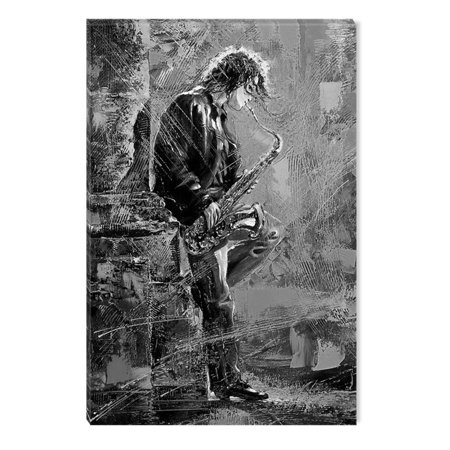 Startonight Canvas Wall Art Black And White Abstract Music Saxo Player Dual View Surprise Artwork Modern Framed Ready To Hang Wall Art 100 Original