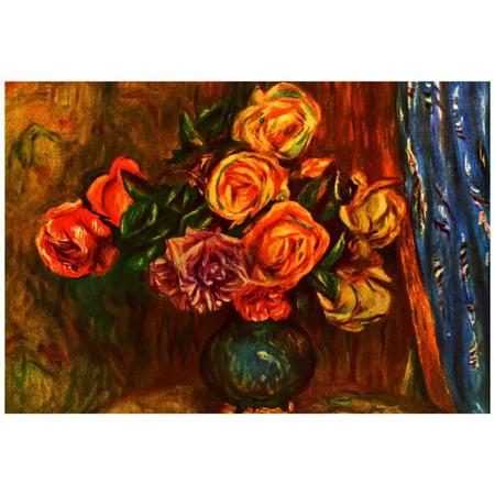 - Pierre Auguste Renoir Still Life Roses Before a Blue Curtain Art Prin...