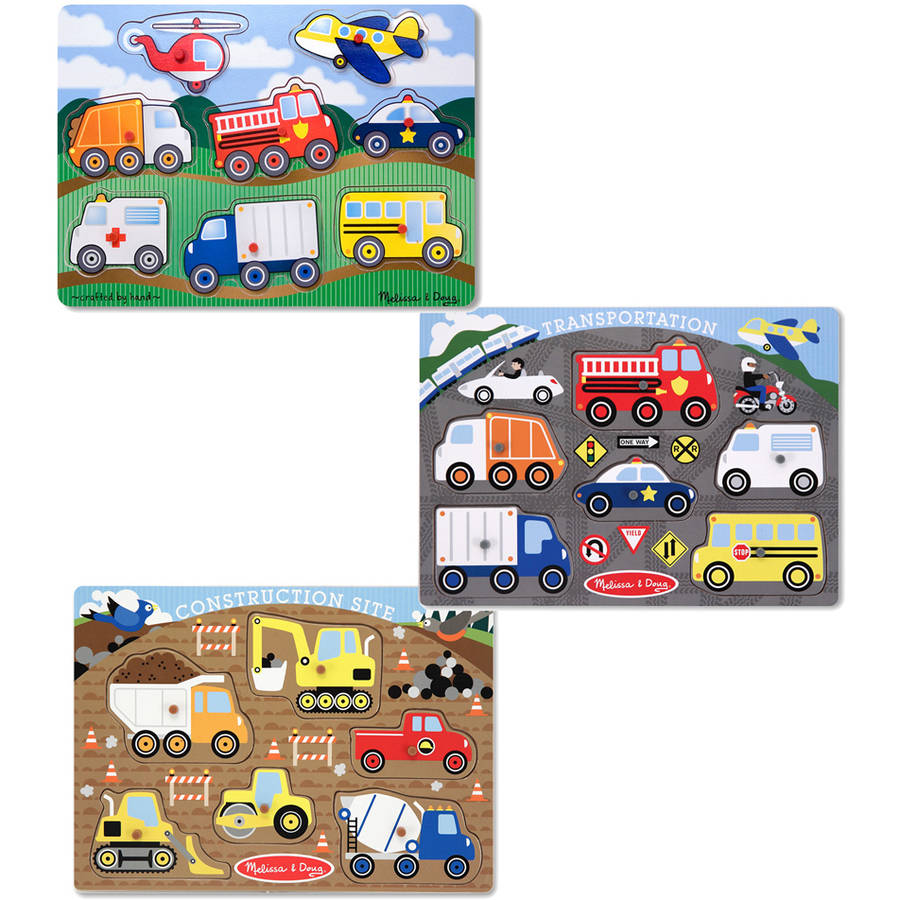 Melissa & Doug Wooden Peg Puzzles Set, Construction Site, Transportation, and Vehicles by Generic