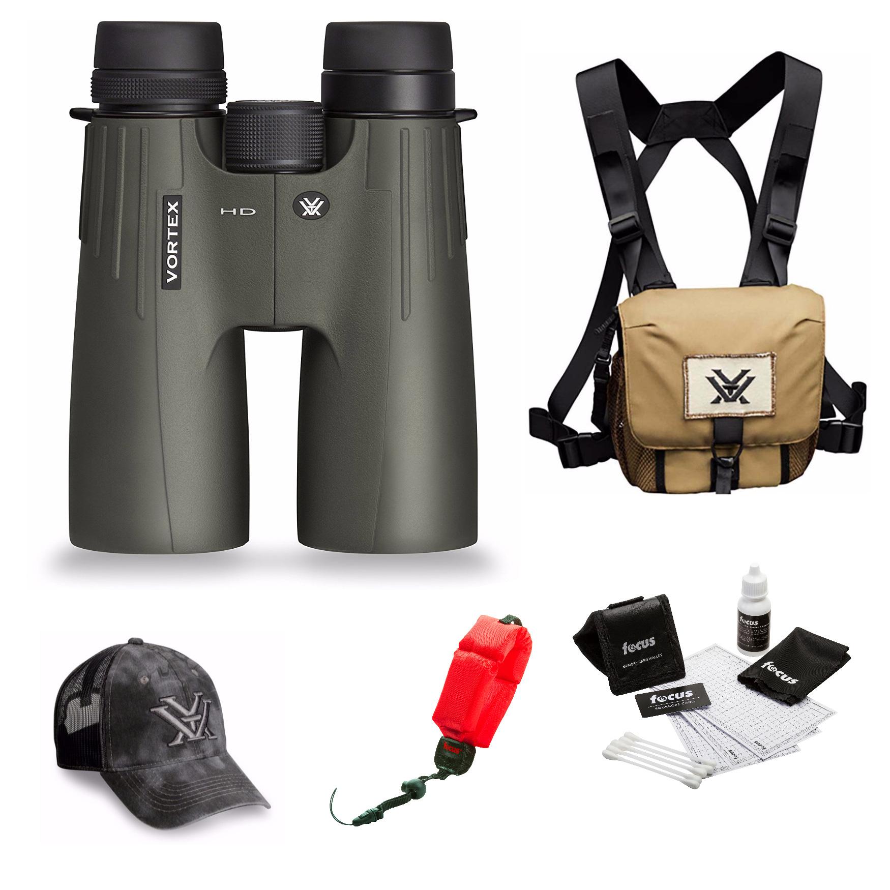 Vortex Optics Viper HD 10x50 Roof Prism Binocular  + Glasspak Harness Bundle