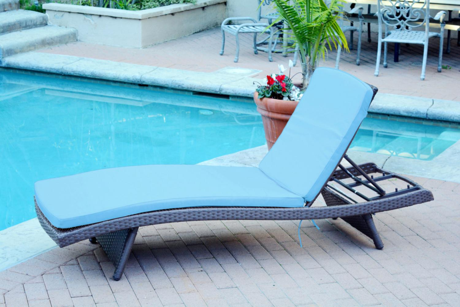 80  Adjustable Espresso Resin Wicker Outdoor Patio Chaise Lounge Chair - Turquoise Cushion  sc 1 st  Walmart : turquoise chaise lounge - Sectionals, Sofas & Couches